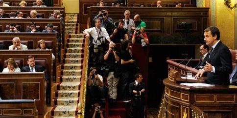 Le premier ministre espagnol devant le Parlement, à Madrid, le 14 juillet. Photo AFP.