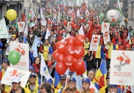 Manifestation contre les programmes d'austérité à Bruxelles, 29 septembre 2010.