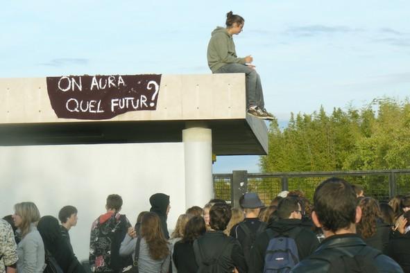 Blocage pacifique des lycéens à Montpellier. Photo JMDH