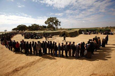 Camp de travailleurs ayant fuit la Libye