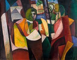 Albert Gleizes, Femmes assises devant une fenêtre, 1914, huile sur carton, 70 x 104.5 cm. Collection privée Solange Landau New York © photo maison de vente Aguttes
