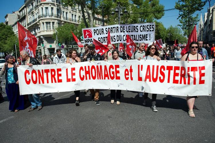 Manifestants contre le chômage et l'austérité à Marseille, le 12 avril 2014 (Photo Bertrand Langlois. AFP)