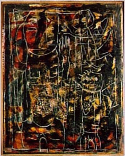 Vénus noire 1945. Huile sur toile avec reliefs en stuc peint 100 x 80 cm