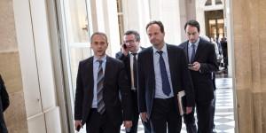 Les députés PS frondeurs Laurent Baumel, Jean-Marc Germain et Christian Paul © MaxPPP.