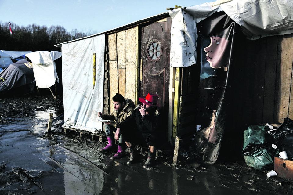 La cabane où les réfugiés prennent des repas, le 23 décembre.. Photo Aimée Thirion