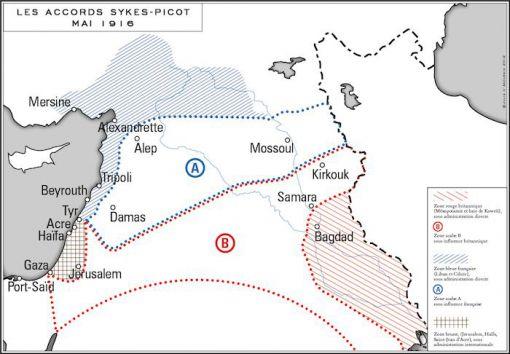 Carte du partage du Proche-Orient, version Sykes-Picot 1916 (Image tirée d'un article de Julie d'Andurain sur lesclesdumoyenorient.fr © lesclesdumoyenorient.fr
