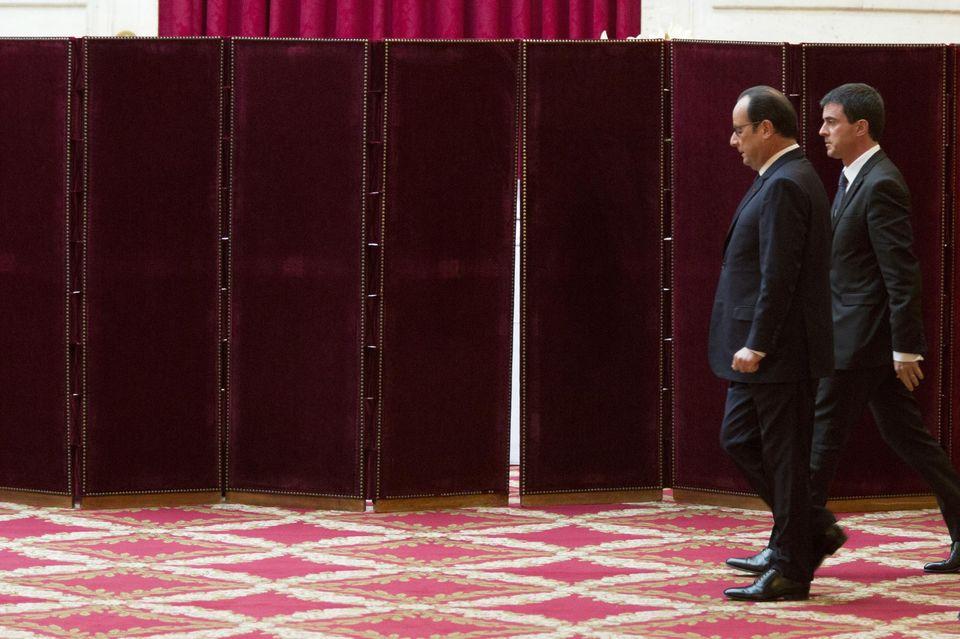 François Hollande et Manuel Valls à l'Elysée, en janvier. Photo Sébastien Calvet