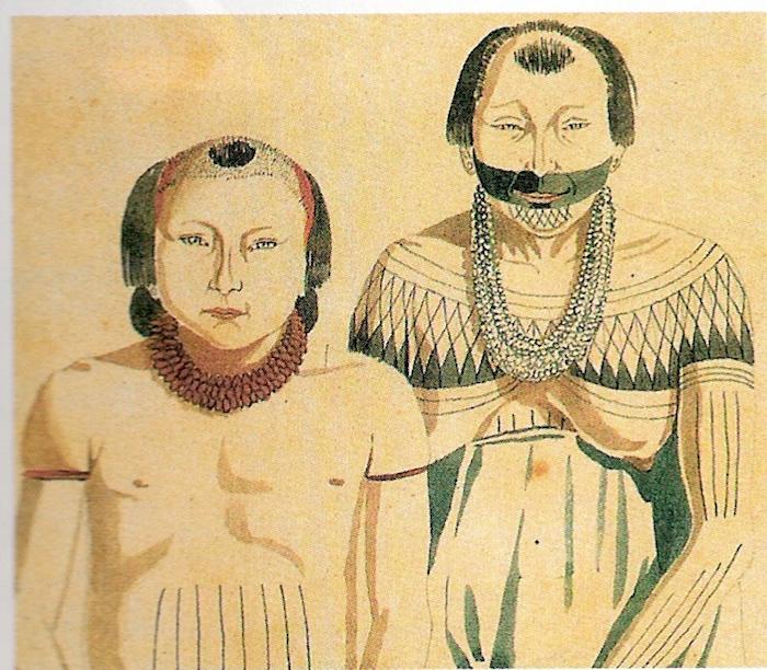 Portrait de deux amérindiens Munduruku, par le peintre français Hercules Florence, lors de l'expédition conduite en Amazonie brésilienne par le Baron von Langsdorf de 1825 à 1829.