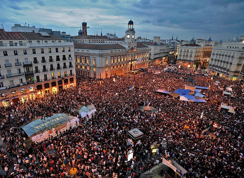 Manifestation d'Indignados à la Puerta del Sol à Madrid en 2011