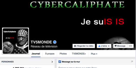 La page Facebook de TV5 Monde, le compte Twitter de TV5 Afrique et les antennes du groupe ont été attaquées par des pirates se réclamant du Cyber Caliphate. La page Facebook de TV5 Monde, le compte Twitter de TV5 Afrique et les antennes du groupe ont été attaquées par des pirates se réclamant du Cyber Caliphate. Capture d'écran