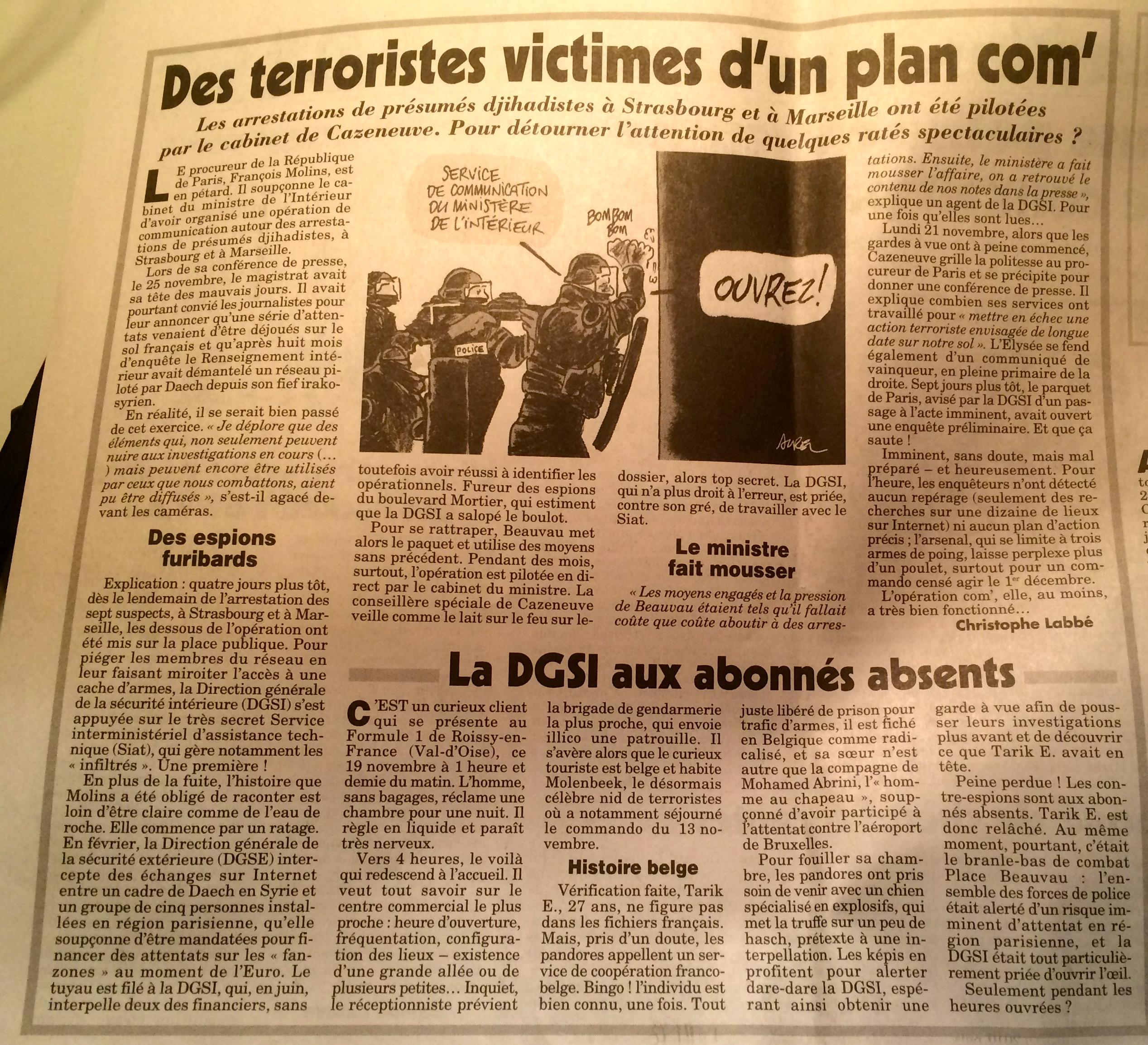 Source Canard enchaîné merc 30/11/2016