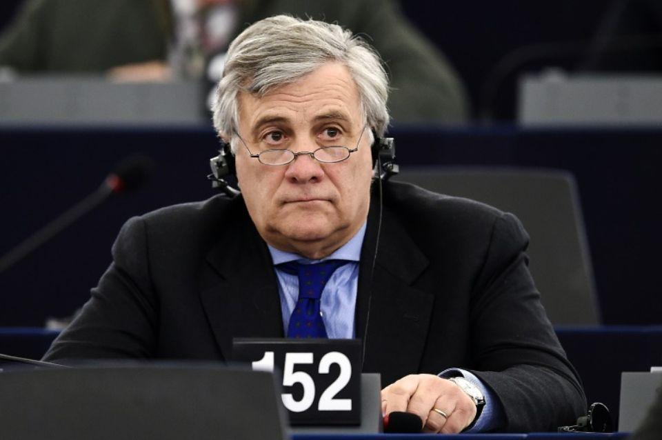 L'Italien Antonio Tajani, L'Italien Antonio Tajani, membre du parti de droite PPE, candidat à la présidence du Parlement européen, le 16 janvier 2017 à Strasbourg Photo FREDERICK FLORIN. AFP