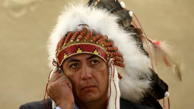 Le président de la communauté sioux de Standing Rock, Dave Archambault, avant son discours contre Dakota Access devant le Conseil des droits de l'homme de l'ONU à Genève, en Suisse, en septembre 2016. Photo : Reuters/Denis Balibouse