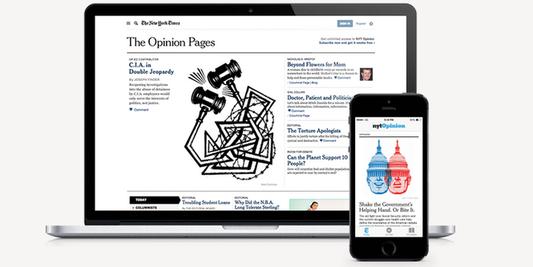 """NYT Opinion, nouvelle offre d'abonnement en ligne du """"New York Times""""."""