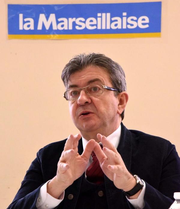 Jean-Luc Mélecnhon dans les locaux de la Marseillaise. Photos LM