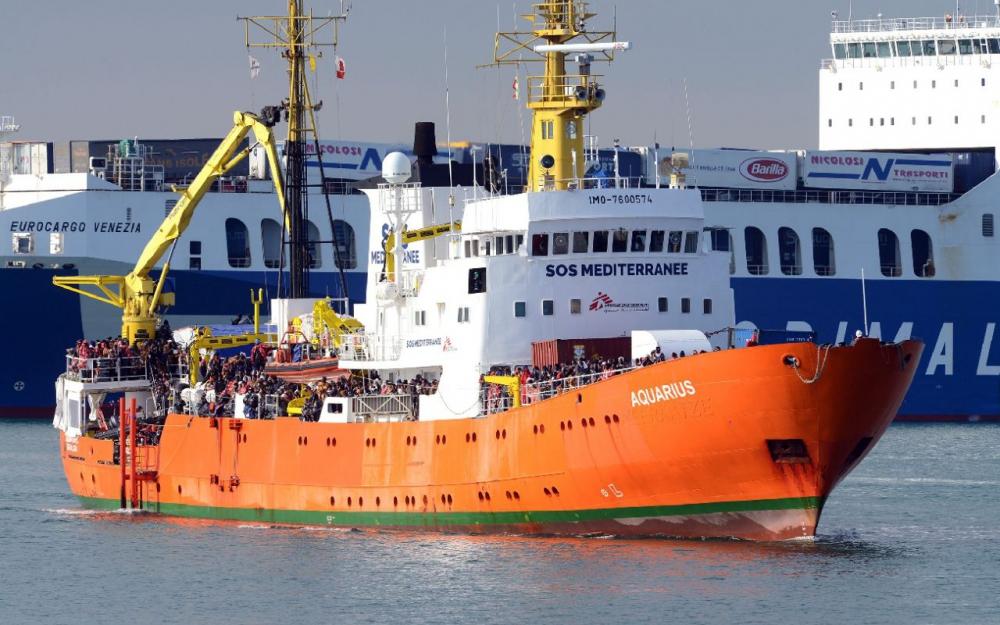 Le navire «Aquarius», ici dans le port de Catane,  que les activistes ont tenté de bloquer.(AFP/Giovanni ISOLINO)