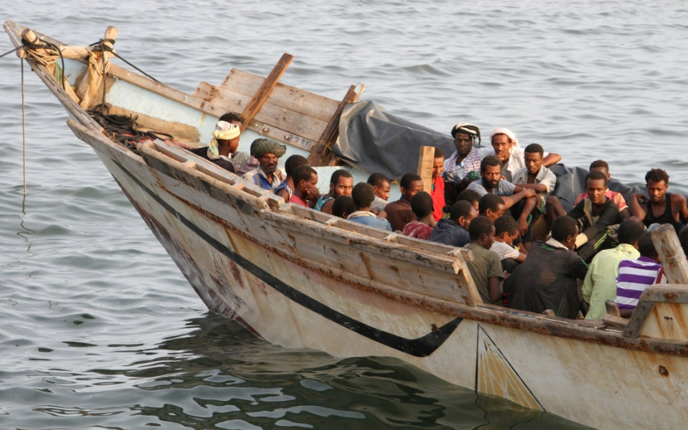 Un bateau de réfugiés au large du Yémen, en septembre 2016.SALEH AL-OBEIDI / AFP