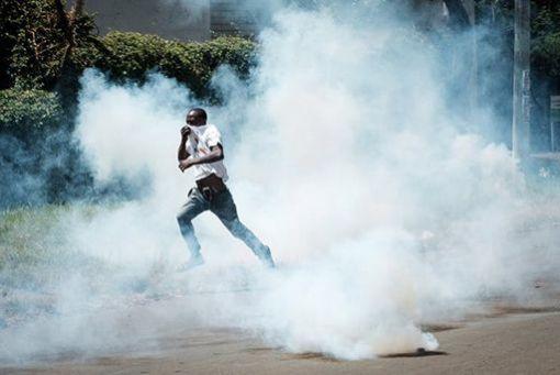 Manifestation de l'opposition à Kisumu (Ouest), le 11 octobre.  © Yasuyoshi Chiba/AFP