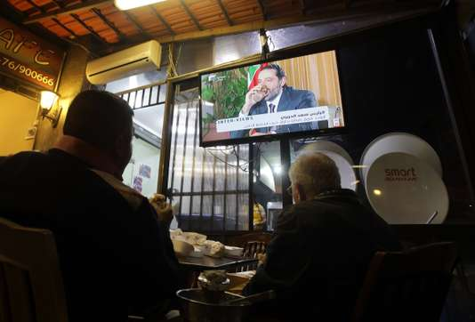 Diffusion de l'interview de Saad Hariri, à Beyrouth, le 12 novembre. Diffusion de l'interview de Saad Hariri, à Beyrouth, le 12 novembre. ANWAR AMRO / AFP