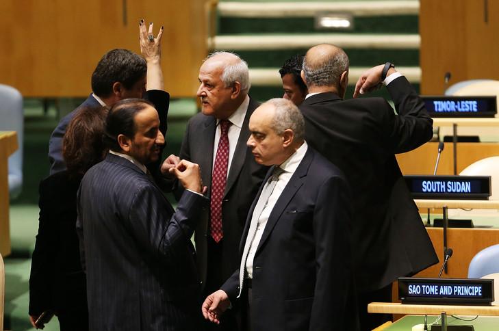 L'ambassadeur Riyad Mansour, observateur permanent de la Palestine aux Nations-Unies, lors de l'assemblée générale à New York. / SPENCER PLATT/AFP