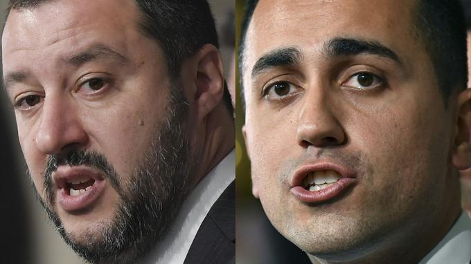 Matteo Salvini (à gauche), leader de la Lega, et Luigi di Maio (à droite), M5S. TIZIANA FABIALBERTO PIZZOLI/AFP