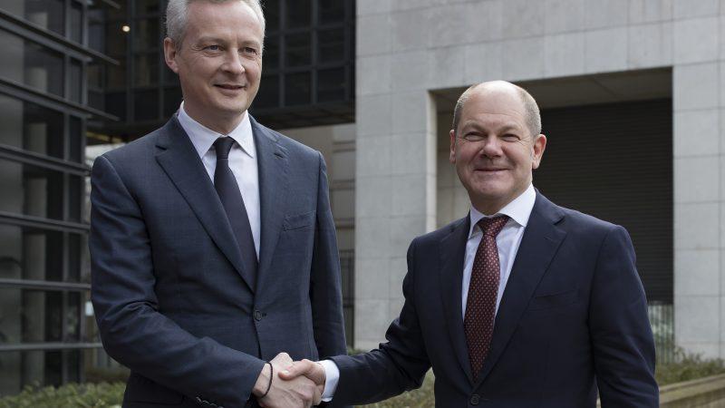 Le ministre de l'Economie française, Bruno Le Maire, avec son équivalent allemand, Olaf Scholz à Paris, le 16 mars 2018 LANGSDON