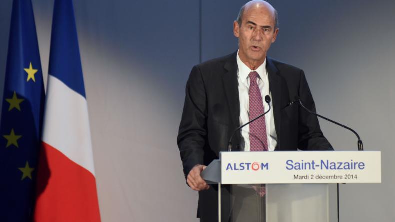 Patrick Kron, à Saint-Nazaire lors de l'inauguration de deux usines d'éoliennes - SEBASTIEN SALOM-GOMIS/SIPA