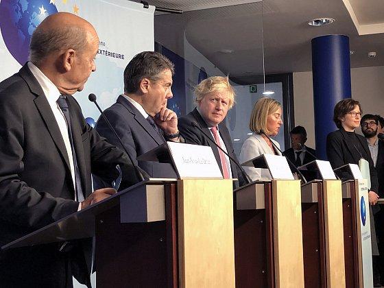 Siège de l'EEAS, Bruxelles, 11 janvier 2018. - Conférence de presse des représentants de l'UE-3 : Jean-Yves Le Drian (France), Sigmar Gabriel (Allemagne) et Boris Johnson (Royaume-Uni) après une réunion sur l'Iran. IRNA