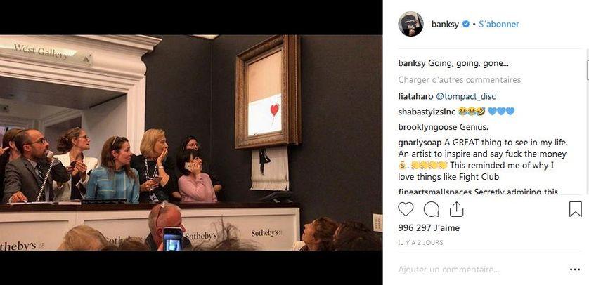 Capture d'écran du compte twitter de Banksy